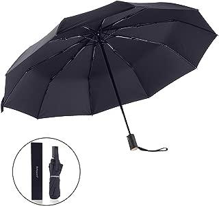 "Bodyguard Innovation 10 Fibreglass Ribs Travel Umbrella - ""Dupont Teflon"" 210T Finest Waterproof Fabric, Auto Open and Close, Ultra Comfort Handle- Gift Box (Black)"