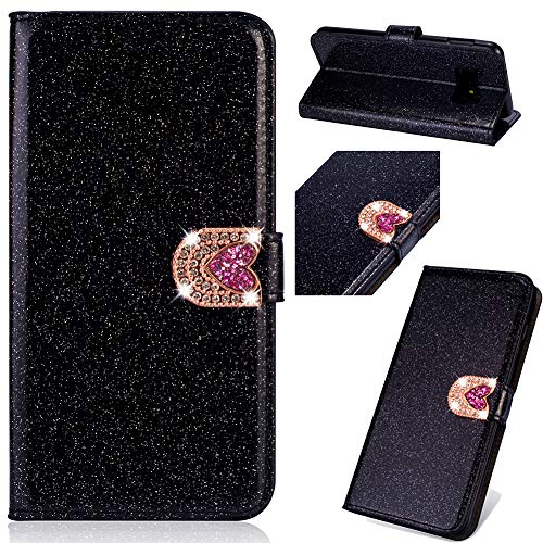 Modisch Ledertasche für Samsung A70,Bling Glitter Glitzer Diamond Love Hearts Musterg Slim Retro Bookstyle Stand Funktion Karteneinschub Magnetverschluss Flip Wallet Hülle Schutzhülle