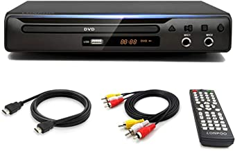 LONPOO Compact DVD Player, HDMI Port & RCA Audio Cable for TV Connect,USB/MIC Port, Plays Multi Formats, All-Region Code F...