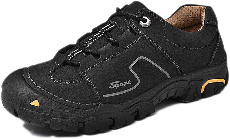 Nihiug Men's Walking shoes Men Waterproof Walking shoes Leather Trekking Leather Anti-Slip Middle-Aged Outdoor Sports
