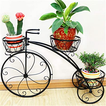 Kundi 3-Tier Garden Cart Planter Stand Tricycle Plant Holder - Planter Holder- Ideal for Home, Garden, Patio - Great Gift for Plant Lovers, Housewarming 67 X 56 X 20 cm (Black)