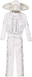 White Boys Baptism Christening Outfit Charro Mariachi Suit Set Hat Wedding Ring Bearer Party Toddler Kids
