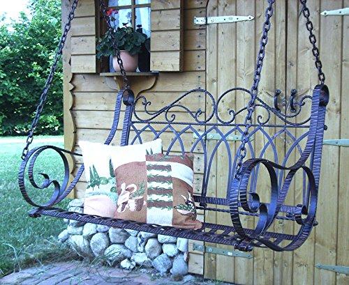 DENK hangbank metaal bruin weerbestendig schommelbank met kettingen hangstoel 18688 2-zits tuinbank