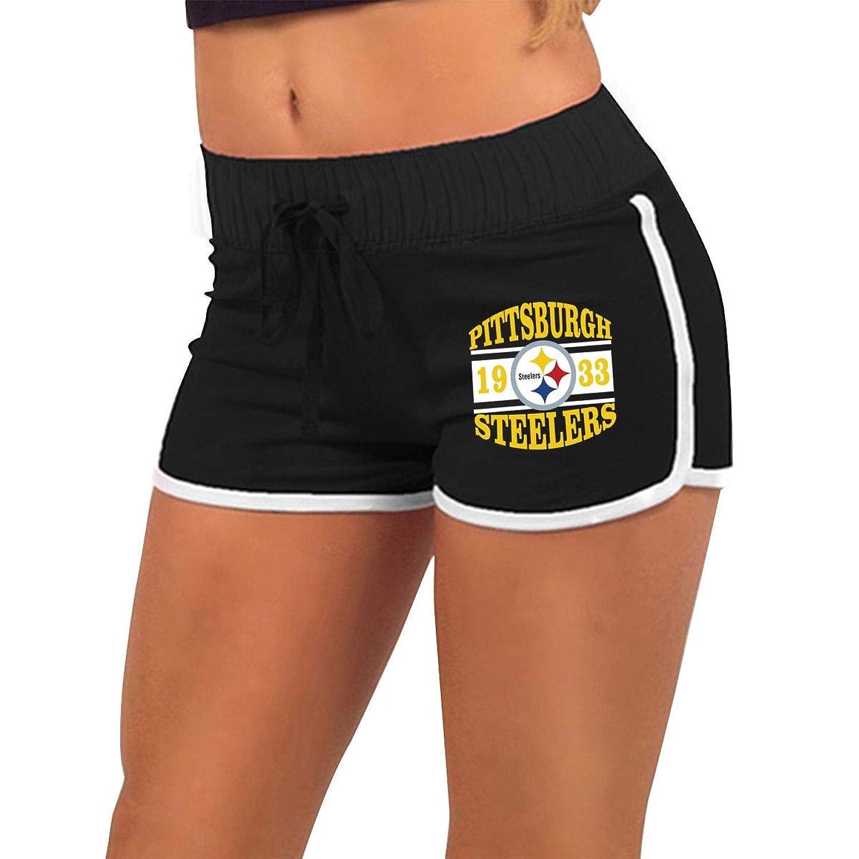 女性のローウエストホットパンツ Pittsburgh Steeler ショートパンツ ファッションエクササイズフィットネスランニング