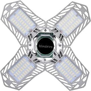 Luces de Garaje LED de 150W con 4 Paneles de Metal Ajustables Luz fría Ángulo de Haz de 360° Lámparas de Garaje Plateadas que Ahorran Energía