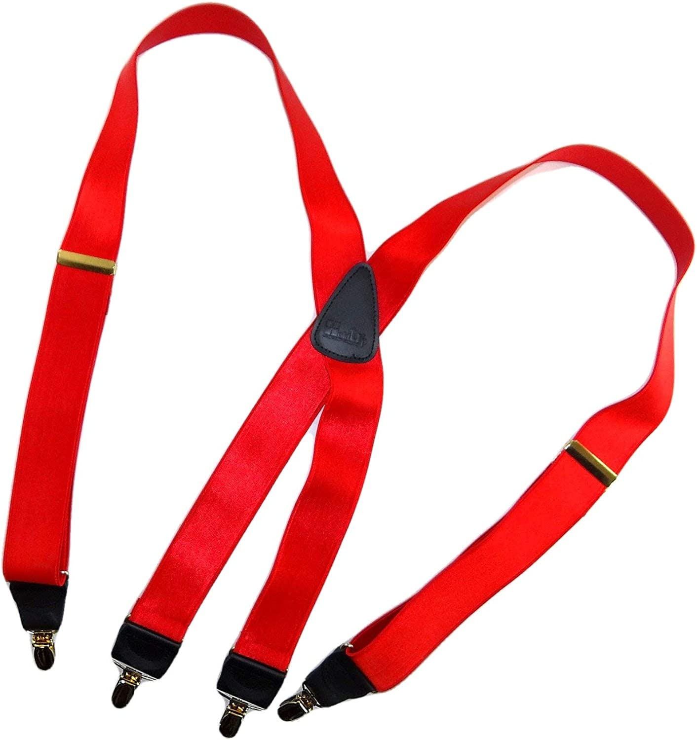 Holdup Corporate Series Regal Red X-back satin finished Suspender with Gold-tone No-slip Clips