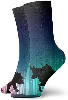 tyui7, Stock Market Illustrator con calcetines de compresión antideslizantes Bull and Bear Cosy Athletic 30cm Crew Calcetines para hombres, mujeres, niños