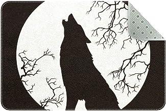 LORVIES - Alfombra antideslizante con silueta de lobo aullando la luna llena, para sala de estar o dormitorio, 24 x 16 pulgadas, poliéster, multicolor, 60x40cm/24x16in
