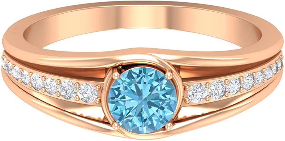 5 MM Solitaire NEW Aquamarine Ring Purchase Diamond and HI-SI Rin