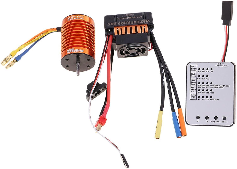 MonkeyJack F540 3000KV Brushless Motor+45A ESC +LED Program Card for 1 10 RC Car Boat High quality