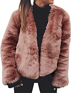 Faux Fur Coat,Women's Winter Warm Cardigan Long Sleeve Outerwear Bomber Jacket by-NEWONESUN
