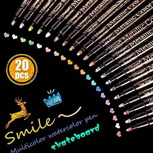 Metallic Marker Stifte 20 Farben Premium Metallic Stifte Marker Set Metallic Pen für Kartenherstellung DIY Fotoalbum Gästebuch Hochzeit Papier Zeichnen Glas Kunststoff Stein - Feiner Spitze (2MM)