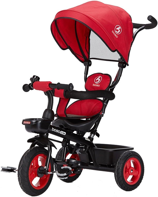 Kinder Dreirad Vorderradkupplung Nicht Aufblasbares Titan-Leerrad Fahrrad 2-6 Jahre Alt Schutz Verstellbare Markise Wagen (Farbe   Rot)