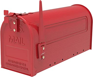 Durable Iron Mailbox Red Medium Capacity Post Mount Mailbox IHADA