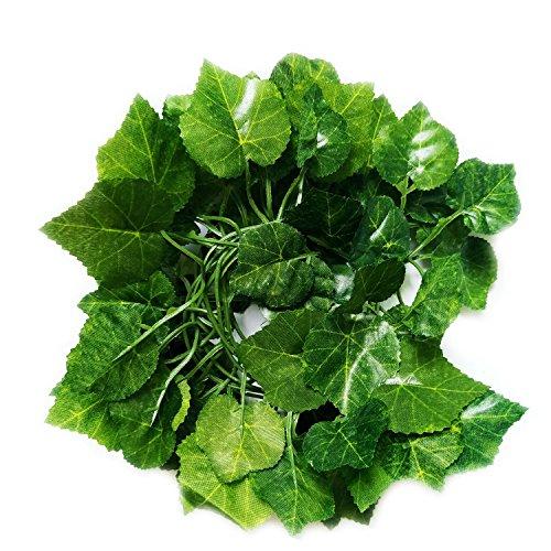JIANZHENKEJI 80 inch/ 200 cm Fake Foliage Garland Leaves Decor Artificial Greenery Ivy Vine Plant Home (Grape)