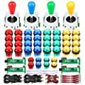 Fosiya 4 Player LED Arcade Kit Ellipse Oval Style Joystick USB Encoder to PC Games DIY Controllers Bat Joystick 4 Colors LED Arcade Buttons for All Windows PC MAME Raspberry Pi by Fosiya