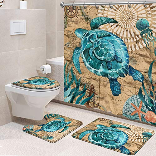 4 Pcs Sea Turtle Shower Curtain Set Nautical Ocean Fabric Shower Curtain with Non-Slip Rug, Toilet Lid Cover, Bath Mat and 12 Metal Hooks for Bathroom