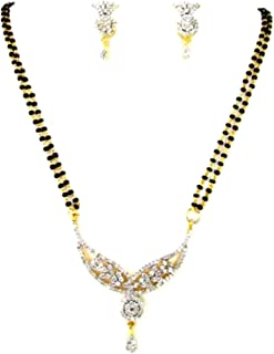 Arras Creations Designer Imitation Long Mangalsutra Necklace with CZ Pendant for Women / AZMNGC125-GCL