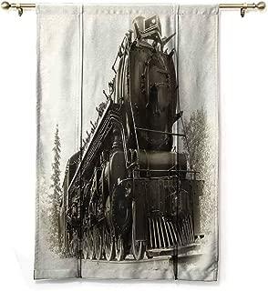 Homrkey Fashion Curtain Steam Engine Antique Northern Express Train Canada Railways Photo Freight Machine Print Children's Bedroom Curtain W23 xL64 Black Grey
