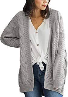 Women's Loose Open Front Long Sleeve Knit Cardigans Sweater Blouses with Pockets