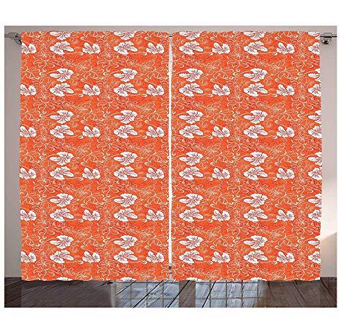 MUXIAND verbrande oranje gordijnen Hawaiian Hibiscus patroon met cirkels en bochten op achtergrond woonkamer slaapkamer raamdecoratie paneel