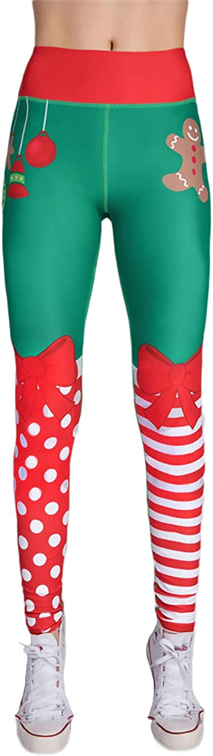 ALERDON High Waist Elastic Christmas Printing Skinny Legging Pants
