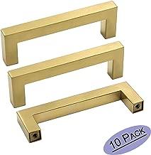 goldenwarm Gold Cabinet Pulls Brushed Brass Drawer Pulls 10 Pack - LSJ12GD102 Gold 4inch Kitchen Cabinet Handles Square Bar Pulls Antique Brass Bathroom Cabinet Hardware 4