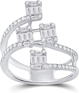 FB Jewels 14K White Gold Womens Baguette Diamond Modern Floating Cluster Ring 7/8 Cttw Size 7 (Primary Stone: I1 clarity; ...