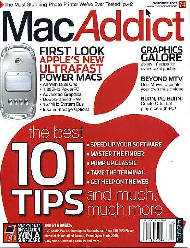 MacAddict October 2002 w/CD Apple's New Ultrafast Power Macs, Graphics Galore - 25 Apps, Use iMovie to Create Your Own Music Video, The Best 101 Tips, Stunning Photo Printer