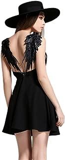 Women's Plunge V-Neck Angle Wings/Spider Net Back Skater Mini Dress