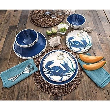 18 Piece Melamine Dinnerware Set Sealife Design (Cobalt Crab)