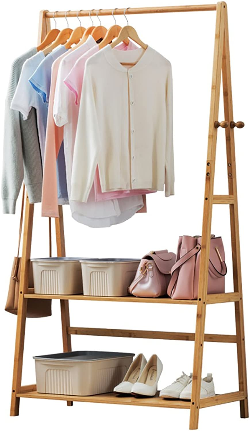 Coat Rack Solid Wood Simple Floor Coat Hanger Bedroom Living Room Wooden Clothes Rack Storage Rack (Size   70CM)