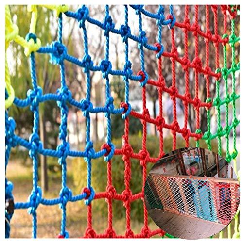 NiUFHW Kleurrijk nylon touwnet, veiligheidsnet voor kindertrap, balkon-valbeveiliging, zwembad-armleuningen-decoratienet, schommel-hangmat-netje 2 x 3 m