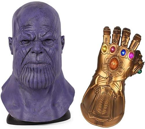 DRAKE1118 Avengers Requisiten Thaos Maske und Infinity Gauntlet Halloween Latex Maske Cosplay geschmacklos Urlaub Kostümparty (2-teiliges Set)