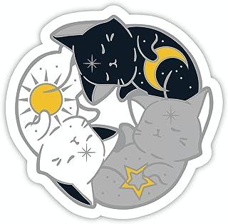 Avamie Three Cats Hugging Circle Vinyl Stickers Waterproof, 4 x 4 inch Ying and Yang Cats PVC Vinyl Stickers for Mugs, Dri...
