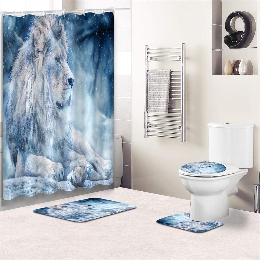 4Pcs Blue Lion Bathroom 春の新作シューズ満載 Shower Curtain with Sets 超人気 専門店 Rugs Access and