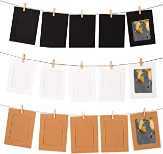 GooGou DIY Paper Photo Frame Wall Deco with Mini Clothespins and String Fits 4