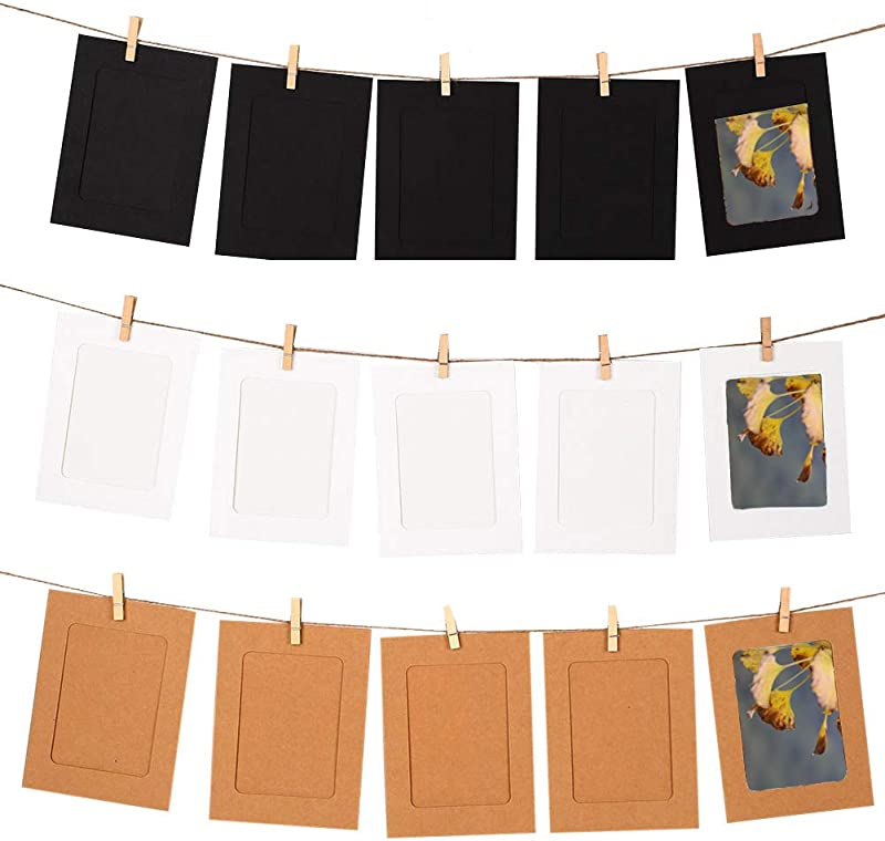 GooGou DIY Paper Photo Frame Wall Deco With Mini Clothespins And String Fits 4 X 6 Pictures For College Home Dorm Room Office 30 Pcs