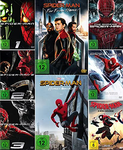 Mega Bundle - Spider-Man 1 + 2 + 3 | Amazing 1 + 2 Rise of Electro | Homecoming | Far From Home | A New Universe [8-DVD]