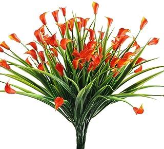 Nahuaa 4pcs Flores Artificiales Plantas de Plástico Lirio de Cala Rojo Narciso Falso Rama de Arbusto para Jardin Decoración Casa Oficina Baño Restaurante Balcón Boda