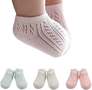 3 Pair Baby Low-cut Non Skid Crew Sock Pastel Solid Thin Mesh Anti Skid Socks for Infant Toddler Girls, 0-4 Years Old
