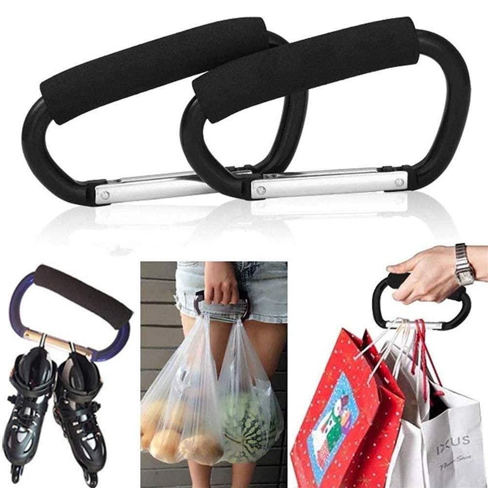 Grocery Bag Shopping Bag Holder Handle Carrier Tool, 2 Packs Multi Purpose Snap Hook Stroller Hook Set Organizer Accessories with Soft Foam Grip for Hanging(Black)
