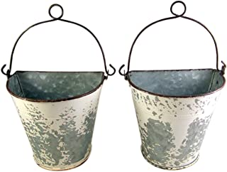 Primitive Galvanized Half Round Bucket Wall Planters, 6 3/4 Inches
