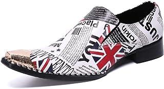 YOWAX Los Zapatos de Cuero de los Hombres por Formal, Casual, Oficina, Partido, de Negocios Personalizada Vaquero Cantante...