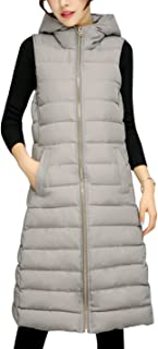 Tanming Women's Winter Cotton Padded Long Vest Coat Outerwear with Hood (X-Small, Grey)