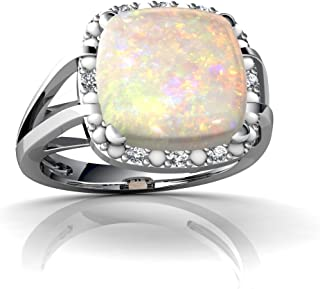 14kt Gold Opal and Diamond 10mm Cushion Halo Cocktail Ring