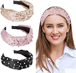 QtGirl Pearl Headbands for Women, Grils Velvet Headband Pearl Hairband Knot Hair Hoop Hair Accessories for Woman Girls Par...