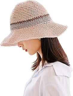 Sombrero de paja de ala ancha plegable para verano, sombrero de playa para niñas y mujeres