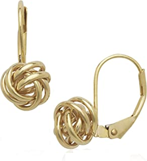 Solid 14k Yellow or White Gold Polished Fixed Love-knot Lever-back Earrings (8mm x 15mm)