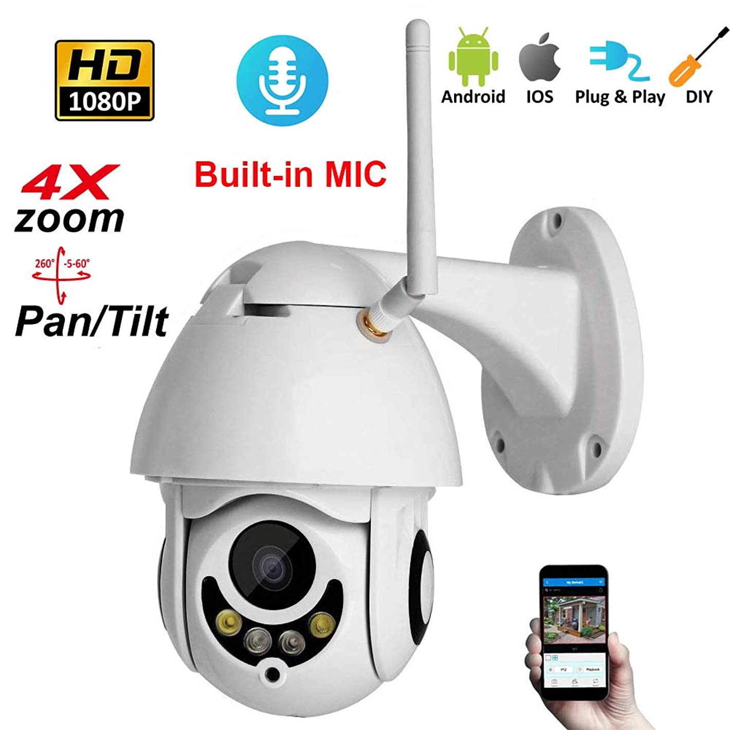 PYXZQW 4X Zoom Camera Hd Ipc Outdoor Waterproof WiFi Remote Monitoring for Home Security System